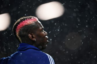 MANCHESTER, ENGLAND - SEPTEMBER 30:   Paul Pogba of Manchester United warms up ahead of the Premier League match between Manchester United and Arsenal FC at Old Trafford on September 30, 2019 in Manchester, United Kingdom. (Photo by Michael Regan/Getty Images)