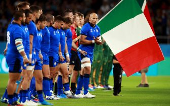 FUKUROI, JAPAN - OCTOBER 04: Sergio Parisse of Italy during the national anthem prior to the Rugby World Cup 2019 Group B game between South Africa v Italy at Shizuoka Stadium Ecopa on October 04, 2019 in Fukuroi, Shizuoka, Japan. (Photo by Adam Pretty/Getty Images)