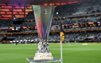Europa League trophy is seen prior to the UEFA Europa League Final between Chelsea and Arsenal at Baku Olimpiya Stadionu on May 29, 2019 in Baku, Azerbaijan. (Photo by Etsuo Hara/Getty Images)