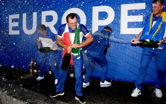 PARIS, FRANCE - SEPTEMBER 30:  Francesco Molinari of Europe celebrates after winning The Ryder Cup during singles matches of the 2018 Ryder Cup at Le Golf National on September 30, 2018 in Paris, France.  (Photo by Ross Kinnaird/Getty Images)
