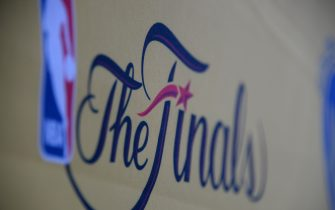 OAKLAND, CA - JUNE 12:  The finals logo before the game between the Golden State Warriors and the Cleveland Cavaliers  during Game Five of the 2017 NBA Finals on June 12, 2017 at ORACLE Arena in Oakland, California. NOTE TO USER: User expressly acknowledges and agrees that, by downloading and or using this photograph, User is consenting to the terms and conditions of the Getty Images License Agreement. Mandatory Copyright Notice: Copyright 2017 NBAE (Photo by Andrew D. Bernstein/NBAE via Getty Images)