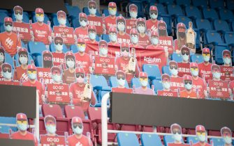 TAOYUAN, TAIWAN - APRIL 11: Cardboard cutouts of fans at the courtside prior to the CPBL season opening game between Rakuten Monkeys and CTBC Brothers at Taoyuan International Baseball Stadium on April 11, 2020 in Taoyuan, Taiwan. (Photo by Gene Wang/Getty Images)