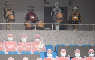 TAOYUAN, TAIWAN - APRIL 11: Fans cardboard and Robot at the courtside prior to the CPBL season opening game between Rakuten Monkeys and CTBC Brothers at Taoyuan International Baseball Stadium on April 11, 2020 in Taoyuan, Taiwan. (Photo by Gene Wang/Getty Images)