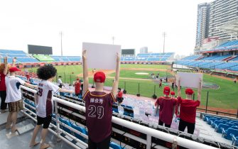TAOYUAN, TAIWAN - APRIL 11: Cardboard cutouts of fans and Robots at the courtside prior to the CPBL season opening game between Rakuten Monkeys and CTBC Brothers at Taoyuan International Baseball Stadium on April 11, 2020 in Taoyuan, Taiwan. (Photo by Gene Wang/Getty Images)