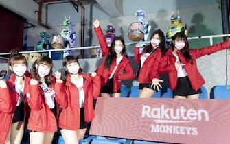 TAOYUAN, TAIWAN - APRIL 11: Rakunten girls and the robot cheerleading team poses prior to the CPBL season opening game between Rakuten Monkeys and CTBC Brothers at Taoyuan International Baseball Stadium on April 11, 2020 in Taoyuan, Taiwan. (Photo by Gene Wang/Getty Images)