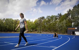 epa08393290 Dutch athletes Dafne Schippers (L) and Naomi Sedney (R) train during the reopening of the Papendal sports center in Arnhem, The Netherlands, 30 April 2020, during the coronavirus (COVID-19) pandemic. A group of selected individual elite athletes have been welcomed to start training in small controlled groups and under strict observance of the RIVM (Netherlands National Institute for Public Health and the Environment) guidelines.  EPA/ROBIN VAN LONKHUIJSEN