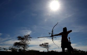 APIA, SAMOA - SEPTEMBER 08:  A general view is seen as an athletes practises before the archery qualification round at the Tuanaimato Sports Facility on day two of the Samoa 2015 Commonwealth Youth Games on September 8, 2015 in Apia, Samoa.  (Photo by Mark Kolbe/Getty Images)