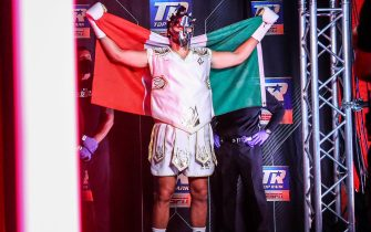 LAS VEGAS, NEVADA - JUNE 09: In this handout image provided by Top Rank, Guido Vianello walks to the ring before his heavyweight bout against Don Haynesworth (not pictured) at MGM Grand Conference Center Grand Ballroom on June 09, 2020 in Las Vegas, Nevada. (Photo by Mikey Williams/Top Rank via Getty Images)