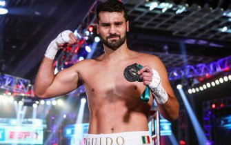 LAS VEGAS, NEVADA - JUNE 09: In this handout image provided by Top Rank, Guido Vianello poses after defeating Don Haynesworth in their heavyweight bout at MGM Grand Conference Center Grand Ballroom on June 09, 2020 in Las Vegas, Nevada. (Photo by Mikey Williams/Top Rank via Getty Images)