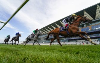 ASCOT, ENGLAND - JUNE 18:  Frankie Dettori riding Stradivarius on their way to winning The Gold Cup on Day Three of Royal Ascot at Ascot Racecourse on June 18, 2020 in Ascot, England. The Queen will miss out on attending Royal Ascot in person for the first time in her 68 year reign. Her Majesty is reported to be planning to watch the racing from home at Windsor Castle, but she will not be able to attend, as the meet goes on behind closed doors due to the Covid-19 pandemic. (Photo by Alan Crowhurst/Getty Images)