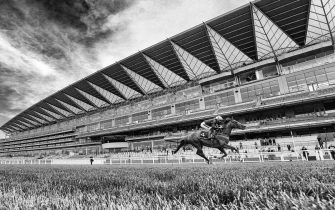 ASCOT, ENGLAND - JUNE 18: (EDITORS NOTE: This image was processed using digital filters) Frankie Dettori riding Stradivarius win The Gold Cup on Day Three of Royal Ascot at Ascot Racecourse on June 18, 2020 in Ascot, England. The Queen will miss out on attending Royal Ascot in person for the first time in her 68 year reign. Her Majesty is reported to be planning to watch the racing from home at Windsor Castle, but she will not be able to attend, as the meet goes on behind closed doors due to the Covid-19 pandemic. (Photo by Alan Crowhurst/Getty Images)