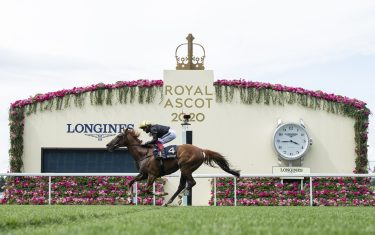 ASCOT, ENGLAND - JUNE 18: Stradivarius ridden by Frankie Dettori crosses the winning line to win his third Gold Cup during Day 3 of Royal Ascot at Ascot Racecourse on June 18, 2020 in Ascot, England. (Photo by Edward Whitaker/Pool via Getty Images)