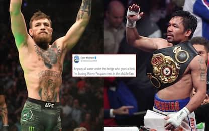 """McGregor annuncia su Twitter: """"Sfiderò Pacquiao"""""""