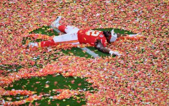 TOPSHOT - Defensive End for the Kansas City Chiefs Demone Harris celebrates after winning Super Bowl LIV between the Kansas City Chiefs and the San Francisco 49ers at Hard Rock Stadium in Miami Gardens, Florida, on February 2, 2020. (Photo by Angela Weiss / AFP) (Photo by ANGELA WEISS/AFP via Getty Images)