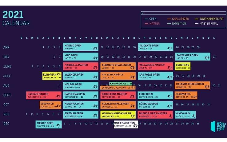 Calendario padel