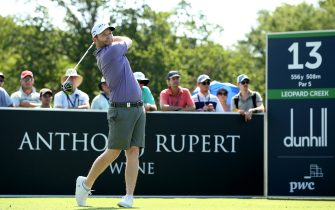 MALELANE, SOUTH AFRICA - DECEMBER 01:  Branden Grace of South Africa tees off on the 13th hole  during Day Four of the Alfred Dunhill Championship at Leopard Creek Country Golf Club on December 01, 2019 in Malelane, South Africa. (Photo by Jan Kruger/Getty Images)