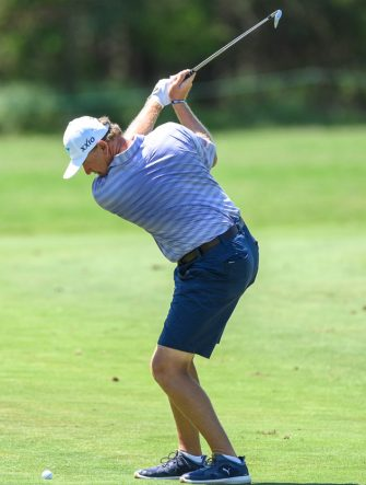 South Africa's Ernie Els, playing in shorts during the first day of the Dunhill Championship Golf tournament at Leopard Creek in Malelane, on November 28, 2019. - The European Tour gave special permissions for the first time for professionals to play in shorts. The Leopard Creek golf course is experiencing at heat wave with temperatures in the high 30 degrees during the first day of the Dunhill Championship Golf tournament at Leopard Creek in Malelane. (Photo by CHRISTIAAN KOTZE / AFP) (Photo by CHRISTIAAN KOTZE/AFP via Getty Images)
