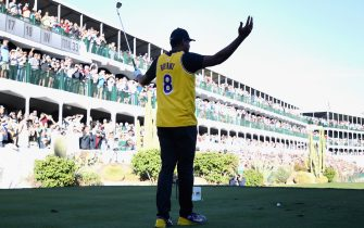 SCOTTSDALE, ARIZONA - JANUARY 30:  Tony Finau reacts to the crowd on the 16th hole while wearing a jersey of former NBA player Kobe Bryant during the first round of the Waste Management Phoenix Open at TPC Scottsdale on January 30, 2020 in Scottsdale, Arizona. Bryant and his 13-year old daughter were among nine passengers killed in a helicopter crash on January 26, 2020. (Photo by Christian Petersen/Getty Images)