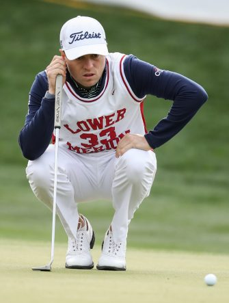 SCOTTSDALE, ARIZONA - JANUARY 30:  Justin Thomas lines up his put on the 16th hole while wearing a replica high school jersey of former NBA player Kobe Bryant during the first round of the Waste Management Phoenix Open at TPC Scottsdale on January 30, 2020 in Scottsdale, Arizona. Bryant and his 13-year old daughter were among nine passengers killed in a helicopter crash on January 26, 2020. (Photo by Christian Petersen/Getty Images)