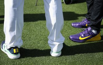 SCOTTSDALE, ARIZONA - JANUARY 30: Detail of Kobe Bryant dedicated shoes worn by Bryson DeChambeau and Tony Finau during the first round of the Waste Management Open at TPC Scottsdale on January 30, 2020 in Scottsdale, Arizona.  Bryant and his 13-year old daughter were among nine passengers killed in a helicopter crash on January 26, 2020.  (Photo by Christian Petersen/Getty Images)
