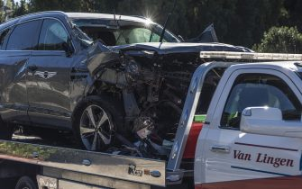 The Genesis GV80 suv on a flatbed tow truck Tiger Woods was involved in a wreck on Hawthorne Blvd. with.  2/23/2021 Los Angeles, CA USA.(Photo by Ted Soqui/Sipa USA)