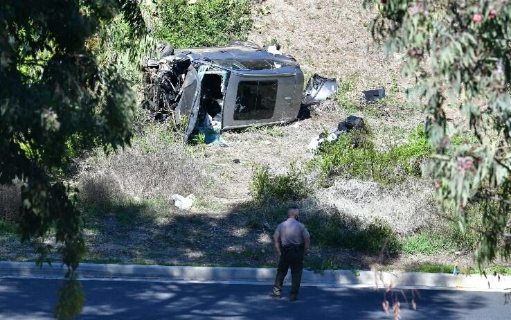 L'auto di Woods dopo l'incidente