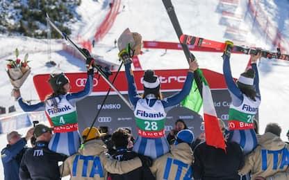 Storica Italia, podio azzurro in discesa a Bansko