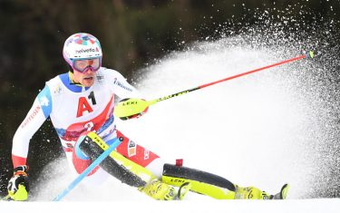 Switzerland's Daniel Yule competes in the first run of the men's Slalom event at the FIS Alpine Ski World Cup in Kitzbuehel, Austria, on January 26, 2020. (Photo by JOE KLAMAR / AFP) (Photo by JOE KLAMAR/AFP via Getty Images)