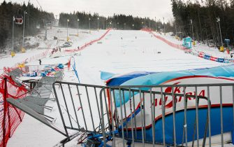 Barriers lie blown over in the finish area due to strong winds following the first run of the FIS Alpine Ski Women's Giant Slalom World Cup event at the panorama slope in Semmering, Austria, on December 28, 2020. - The Alpine Skiing World Cup in Semmering, whose first run was contested in the morning, was called off due to the wind blowing over the Austrian resort, the International Ski Federation (FIS) announced on December 28. (Photo by Florian SCHROETTER / various sources / AFP) / Austria OUT (Photo by FLORIAN SCHROETTER/EXPA/AFP via Getty Images)