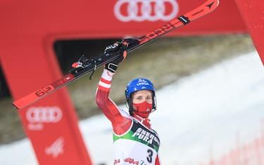 ZAGREB, CROATIA - JANUARY 06: Marco Schwarz of Austria takes 3rd place during the second run of Audi FIS Alpine Ski World Cup Men' Slalom on January 6, 2021 in Zagreb, Croatia. Photo: Luka Stanzl/PIXSELL
