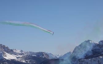 Frecce Tricolori Acrobatic air patrol during 2021 FIS Alpine World SKI Championships - Downhill - Men, alpine ski race in Cortina (BL), Italy, February 14 2021