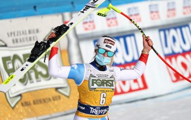 Winner Lara Gut-Behrami of Switzerland celebrates in the finish area after the Women's Downhill race at the FIS Alpine Skiing World Cup in Val di Fassa, Italy, 26 February 2021. ANSA/ANDREA SOLERO