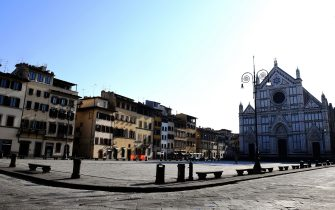 A general view shows an empty Piazza Santa Croce in Florence on March, 21 2020, as part of the measures taken by Italian government to fight against the spread of the COVID-19, the novel coronavirus. - Italy reported a record 627 new coronavirus deaths Friday and saw its world-topping toll surpass 4,000, despite government efforts to stem the pandemic's spread. The Mediterranean country's daily rate of fatalities is now higher than that officially reported by China at the peak of its outbreak around Wuhan's Hubei province. (Photo by Carlo BRESSAN / AFP) (Photo by CARLO BRESSAN/AFP via Getty Images)