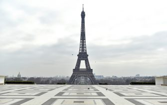 PARIS, FRANCE - MARCH 17: A general view of the Eiffel Tower on an empty Trocadero square on the first day of confinement due to an outbreak of coronavirus disease (COVID-19) on March 17, 2020 in Paris, France. Several European countries have closed borders, schools as well as public facilities, and have cancelled most major sports and entertainment events in order to prevent the spread of Coronavirus. The epidemic has exceeded 5,800 dead for more than 156,000 infections across the world. (Photo by Aurelien Meunier/Getty Images)