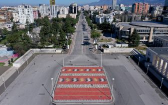 A picture taken on March 13, 2020, shows an aerial view of empty Tirana's outer ring. - Albania has stepped up measures to contain the spread of COVID 19 caused by the novel coronavirus and banned circulation of all cars (except ambulances and supplies) for 3 days and urged people to stay home as the number of infected people increased to 33. (Photo by Gent SHKULLAKU / AFP) (Photo by GENT SHKULLAKU/AFP via Getty Images)