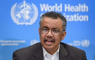 World Health Organization (WHO) Director-General Tedros Adhanom Ghebreyesus speaks during a press conference following a WHO Emergency committee to discuss whether the Coronavirus, the SARS-like virus, outbreak that began in China constitutes an international health emergency, on January 30, 2020 in Geneva. - The UN health agency declared an international emergency over the deadly coronavirus from China -- a rarely used designation that could lead to improved international co-ordination in tackling the disease. (Photo by FABRICE COFFRINI / AFP) (Photo by FABRICE COFFRINI/AFP via Getty Images)