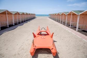 ROME, ITALY - MAY 10: A general view of the cabins at a Summer resort facility at Ostia beach closed during 'phase two' of measures to tackle the Coronavirus (Covid-19) pandemic, on May 10, 2020 in Rome, Italy. Italy was the first country to impose a nationwide lockdown to stem the transmission of the Coronavirus (Covid-19), and its restaurants, theaters and many other businesses remain closed. (Photo by Antonio Masiello/Getty Images)