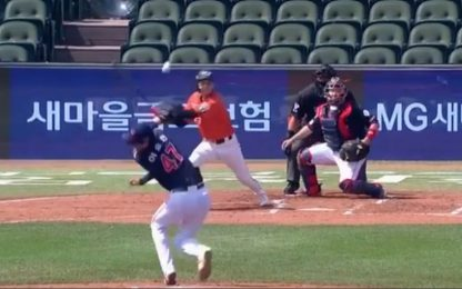 Lanciatore coreano colpito in testa. VIDEO