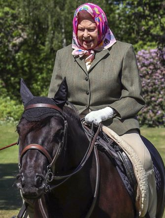 Britain's Queen Elizabeth II rides Balmoral Fern, a 14-year-old Fell Pony, in Windsor Home Park, west of London, over the weekend of May 30 and May 31, 2020. (Photo by Steve Parsons / POOL / AFP) (Photo by STEVE PARSONS/POOL/AFP via Getty Images)