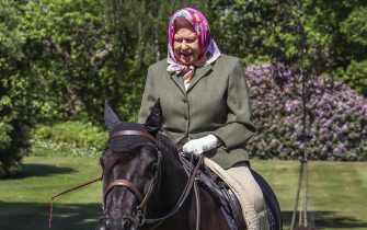 WINDSOR, ENGLAND - MAY: Issue date: Sunday May 31, Queen Elizabeth II rides Balmoral Fern, a 14-year-old Fell Pony, in Windsor Home Park over the weekend of May 30 and May 31, 2020 in Windsor, England. The Queen has been in residence at Windsor Castle during the coronavirus pandemic. (Photo by Steve Parsons - WPA Pool/Getty Images)