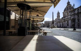 A restaurant closed in Piazza Navona during the second phase of the Coronavirus Covid-19 pandemic emergency in Rome, Italy, 19 May 2020. ANSA/ANGELO CARCONI