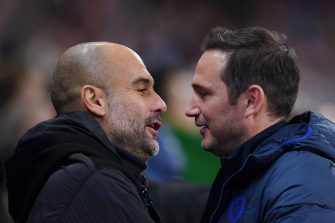 MANCHESTER, ENGLAND - NOVEMBER 23: Frank Lampard, Manager of Chelsea embraces Pep Guardiola, Manager of Manchester City prior to the Premier League match between Manchester City and Chelsea FC at Etihad Stadium on November 23, 2019 in Manchester, United Kingdom. (Photo by Laurence Griffiths/Getty Images)
