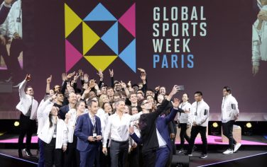The photo was taken at the Closing Session during the Global Sports Week, the Friday, February 7, 2020.