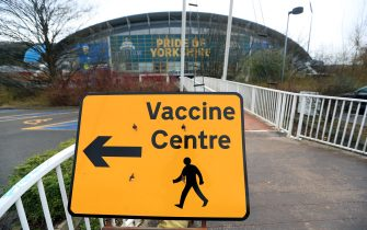 Signage to a Vaccine Centre near the John Smith's Stadium, Huddersfield. Picture date: Saturday February 20, 2021. (Photo by Mike Egerton/PA Images via Getty Images)