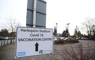 LONDON, ENGLAND - FEBRUARY 13: A sign displays a Covid-19 Vaccination Centre is seen prior to the Gallagher Premiership Rugby match between Harlequins and Leicester Tigers at The Twickenham Stoop on February 13, 2021 in London, England. Sporting stadiums around the UK remain under strict restrictions due to the Coronavirus Pandemic as Government social distancing laws prohibit fans inside venues resulting in games being played behind closed doors. (Photo by Alex Davidson/Getty Images for Harlequins)