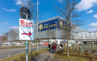 DUESSELDORF, GERMANY - MARCH 07: (BILD ZEITUNG OUT) The sign vaccination center infront of the Merkur Spiel-Arena at Merkur Spiel-Arena on March 07, 2021 in Duesseldorf, Germany. (Photo by Mario Hommes/DeFodi Images via Getty Images)