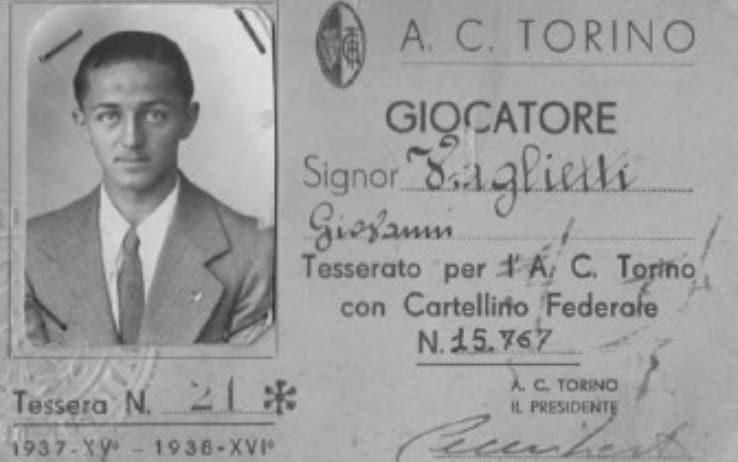 Il tesserino di Giovanni Vaglietti, calciatore del Torino