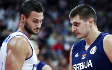 FOSHAN, CHINA - SEPTEMBER 04: #15 Nikola Jokic of the Serbia National Team in action against #8 Danilo Gallinari of the Italy National Team during the 1st round of 2019 FIBA World Cup at GBA International Sports and Cultural Center on September 4, 2019 in Foshan, China. (Photo by Zhong Zhi/Getty Images)