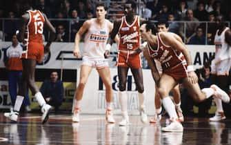 Foto Archivio Storico LaPresse30-03-1988 Milano, ItaliasportbasketTracer Olimpia Milano vs Arexons CantùNella foto: Dino Meneghin, BobMcAdoo
