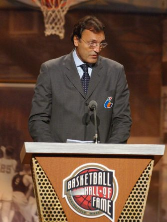 SPRINGFIELD, MA - SEPTEMBER 5:  Dino Meneghin speaks after being inducted into the Basketball Hall of Fame on September 5, 2003 at the Basketball Hall of Fame in Springfield, Massachussetts.  NOTE TO USER: User expressly acknowledges and agrees that, by downloading and or using this photograph, User is consenting to the terms and conditions of the Getty Images License Agreement.  (Photo by Jesse Garrabrant/NBAE via Getty Images)
